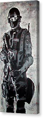Red Marble Full Length Figure Portrait Of Swat Team Leader Alpha Chicago Police Full Uniform War Gun Canvas Print by M Zimmerman MendyZ