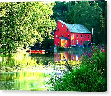 Red Mill On The Lake Canvas Print by Artistic Photos