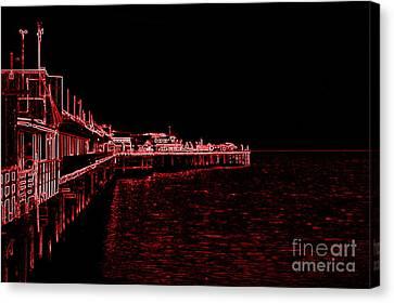 Red Neon Wharf Canvas Print
