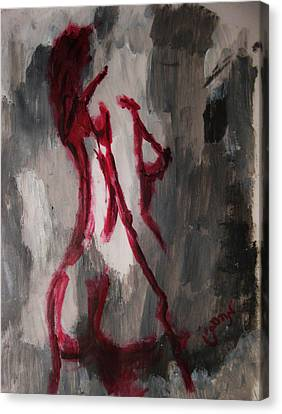 Red Nude Young Female Girl In Shades Of Melting Grey Contemporary Modern Painting Canvas Print