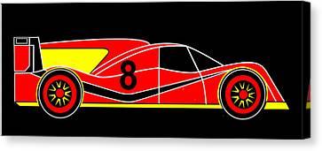 Red Number 8 Racing Car Virtual Car Canvas Print by Asbjorn Lonvig