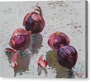 Onion Canvas Print - Red Onions by Ylli Haruni