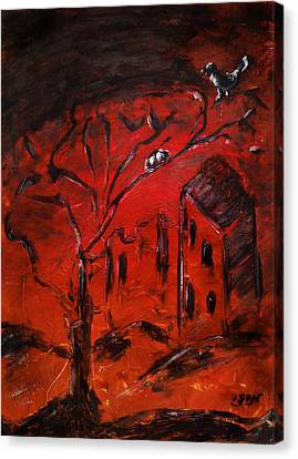 Canvas Print featuring the painting Red Orange Yellow Sunset With Bird Nest Castle And Tree Silhouette by M Zimmerman