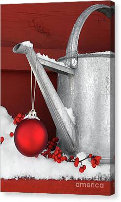 Red Ornament On Watering Can Canvas Print by Sandra Cunningham