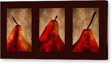 Red Pear Triptych Canvas Print
