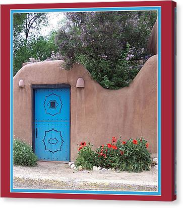 Red Poppies Blue Door Canvas Print