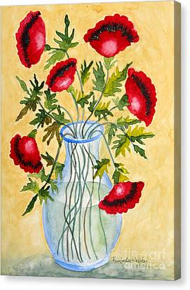 Red Poppies In A Vase Canvas Print by Kimberlee Weisker