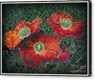 Canvas Print featuring the mixed media Red Poppies by Irina Hays