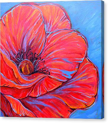 Red Poppy Canvas Print by Jenn Cunningham