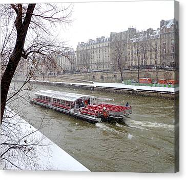 Red Riverboat On The Seine Canvas Print by Amelia Racca