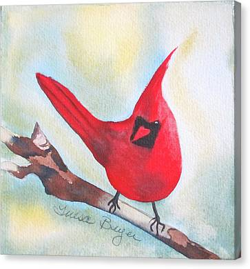 Canvas Print featuring the painting Red Robin by Teresa Beyer