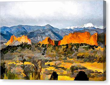 Canvas Print featuring the digital art Red Rock Country by Brian Davis