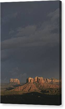 Red Rocks Of Cathedral Rock Lit By Sun Canvas Print by Todd Gipstein