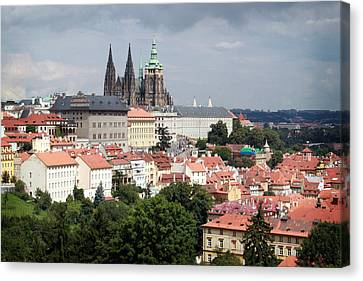 Steeple Canvas Print - Red Rooftops Of Prague by Linda Woods