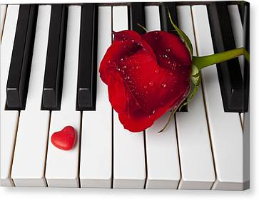 Red Rose And Candy Heart Canvas Print by Garry Gay