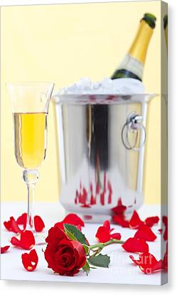 Red Rose And Champagne Canvas Print by Richard Thomas