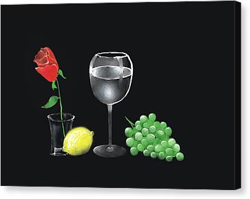 Canvas Print featuring the painting Red Rose And Grapes by Larry Cirigliano