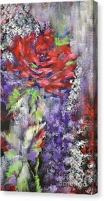 Red Rose In Winter Canvas Print by Kathleen Pio