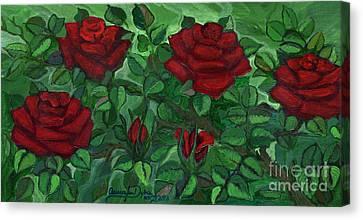 Polish Folk Art Canvas Print - Red Roses - Horizontal by Anna Folkartanna Maciejewska-Dyba
