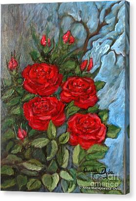 Red Roses In Old Garden Canvas Print by Anna Folkartanna Maciejewska-Dyba