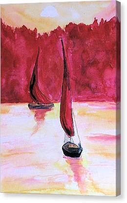 Canvas Print featuring the painting Red Sails by Alethea McKee