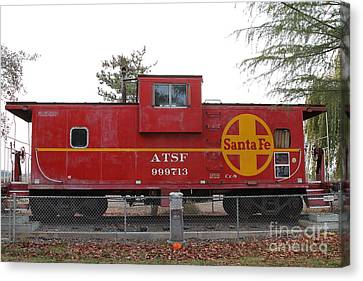 Red Sante Fe Caboose Train . 7d10328 Canvas Print by Wingsdomain Art and Photography