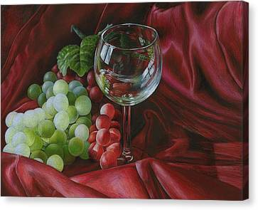 Red Satin And Grapes Canvas Print