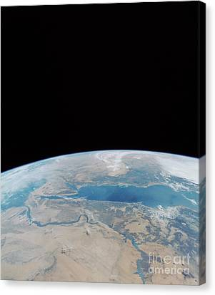 Red Sea And Suez Canal Canvas Print by NASA / Science Source