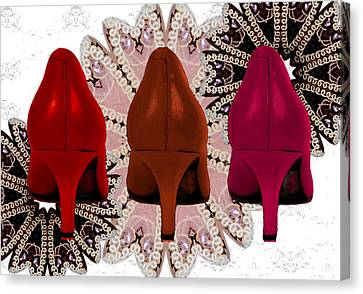 Digital Art Of High Heels Canvas Print - Red Shoes In Shades Of Red by Maralaina Holliday