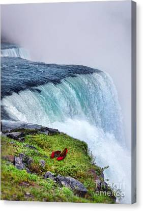 Red Shoes Left By The Falls Canvas Print by Jill Battaglia