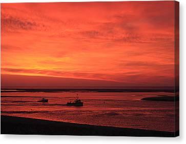 'red Skies At Morning Sailors Take Warning' Canvas Print by John Burk