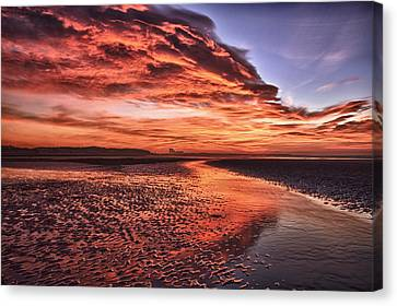 Red Sky Beach Sunrise Canvas Print