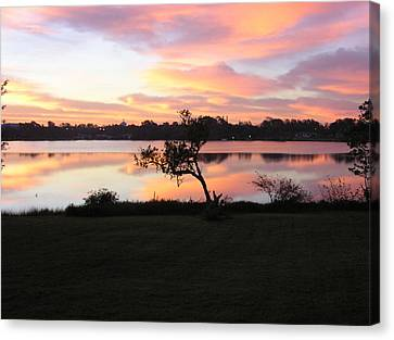 Red Sky In The Morning Canvas Print by Lou Belcher