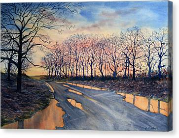 Red Sky On The Road From Sledmere Canvas Print