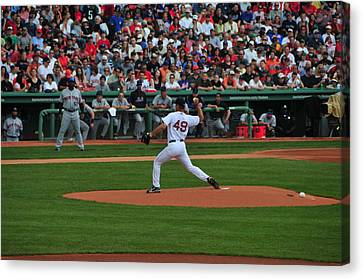 Red Sox Retiree Tim Wakefield Canvas Print by Mike Martin