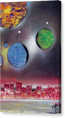 Red Space City Canvas Print by Marc Chambers