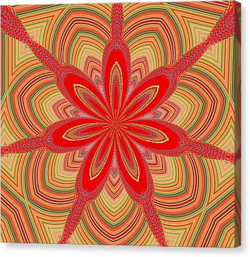 Canvas Print featuring the digital art Red Star Brocade by Alec Drake