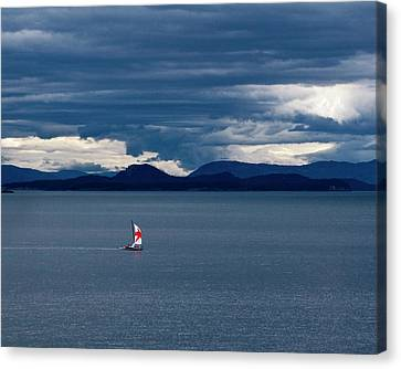 Canvas Print featuring the photograph Red Star Sail by Lorraine Devon Wilke