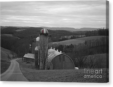 Red Striped Silo Canvas Print by Randy Edwards