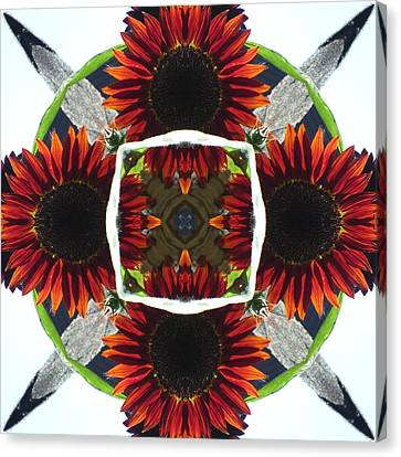Red Sunflower And Feather Canvas Print by Trina Stephenson