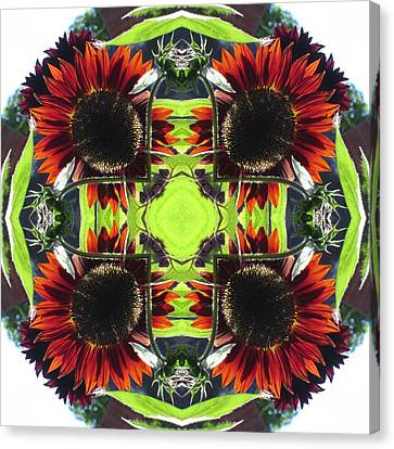 Red Sunflowers And Leaf Canvas Print by Trina Stephenson