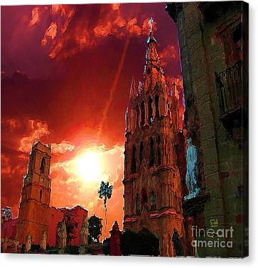 Canvas Print featuring the photograph Red Sunset Over The Paroquio by John  Kolenberg