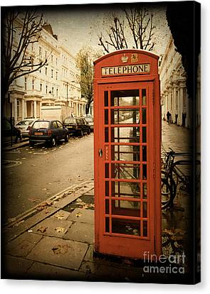 Red Telephone Booth In London England In A Grunge Vintage Border Canvas Print by ELITE IMAGE photography By Chad McDermott
