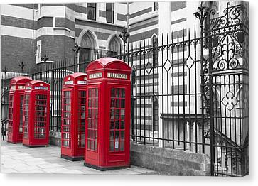 Red Telephone Boxes Canvas Print by David French