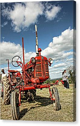 Red Tractor Canvas Print by Julie Williams