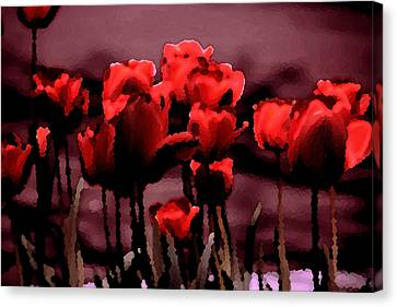 Red Tulips At Dusk Canvas Print by Penny Hunt