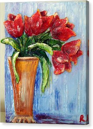 Red Tulips In Vase Mini Sculpture Canvas Print