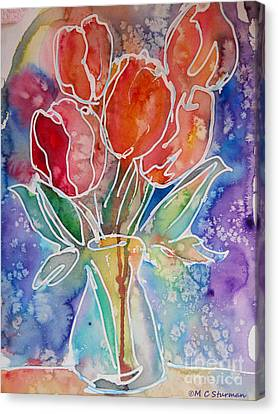 Red Tulips Canvas Print by M C Sturman