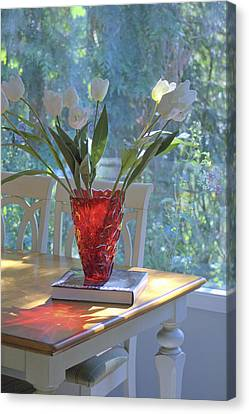 Canvas Print featuring the photograph Red Vase With Flowers In Window by Michael Dohnalek