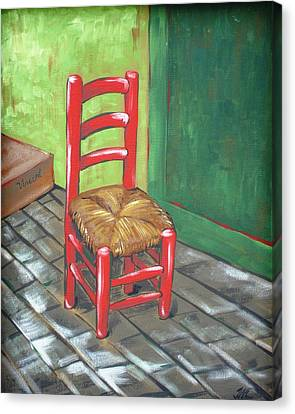 Ladderback Chair Canvas Print - Red Vincent by JW DeBrock